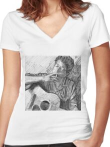 PORTRAIT OF BOB DYLAN Women's Fitted V-Neck T-Shirt