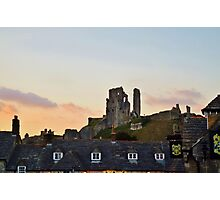 Corfe Castle, Dorset at Dusk Photographic Print