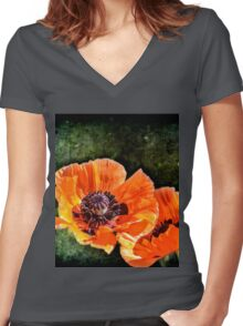 Oriental Poppies family Women's Fitted V-Neck T-Shirt