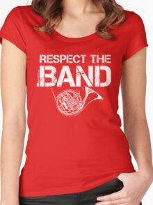 Respect The Band - French Horn (White Lettering) Women's Fitted Scoop T-Shirt
