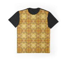 Golden Floret Pattern Graphic T-Shirt