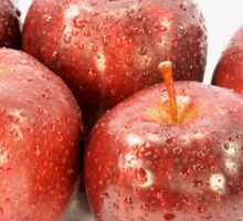Red Apples covered with water drops. Sticker