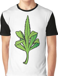 Pot Leaf Weed Middle Finger Flipping Off Graphic T-Shirt