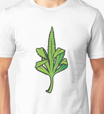 Pot Leaf Weed Middle Finger Flipping Off Unisex T-Shirt