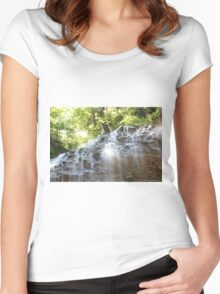 Top part of Tiffany Falls with sun beams Horizontal orientation. Women's Fitted Scoop T-Shirt