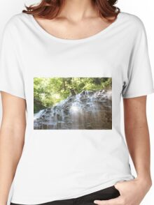 Top part of Tiffany Falls with sun beams Horizontal orientation. Women's Relaxed Fit T-Shirt