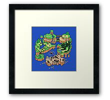Super Mario World SNES Map Framed Print