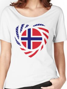 Norwegian American Multinational Patriot Flag Series 2.0 Women's Relaxed Fit T-Shirt