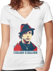 ITALIAN STALLION Women's Fitted V-Neck T-Shirt