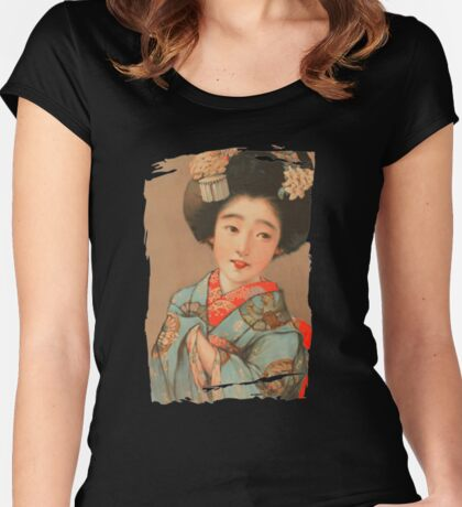 Woman in Blue Kimono (PD) Women's Fitted Scoop T-Shirt
