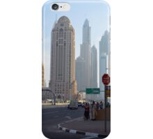 Street with tall buildings from Dubai, United Arab Emirates. iPhone Case/Skin