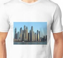 Photography of tall buildings from Dubai seen from the water, United Arab Emirates. Unisex T-Shirt