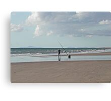 Beach Fishing in Wales Canvas Print
