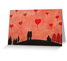 Wedding: Romantic Couple with Heart Balloons Greeting Card