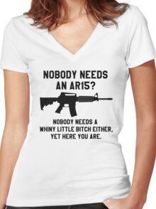 Nobody needs an AR 15 black design Women's Fitted V-Neck T-Shirt