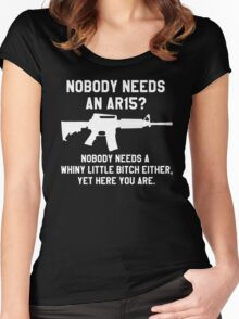 Nobody needs an AR 15 white design Women's Fitted Scoop T-Shirt