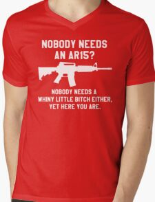 Nobody needs an AR 15 white design Mens V-Neck T-Shirt