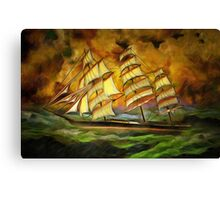 A Tea Clipper Heading for Home in a Strong Blow Canvas Print