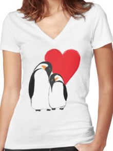 Penguin Partners - Vday edition 2 Women's Fitted V-Neck T-Shirt