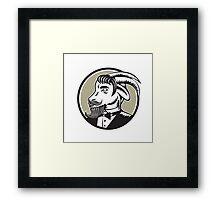 Goat Beard Tuxedo Circle Woodcut Framed Print