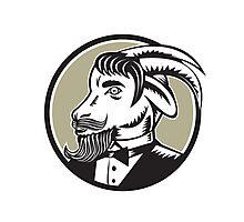 Goat Beard Tuxedo Circle Woodcut Photographic Print