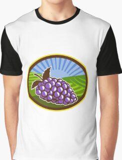 Grapes Vineyard Farm Oval Woodcut Graphic T-Shirt