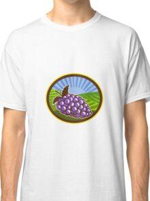 Grapes Vineyard Farm Oval Woodcut Classic T-Shirt