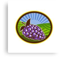 Grapes Vineyard Farm Oval Woodcut Canvas Print
