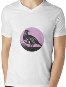 California Valley Quail Bird Circle Retro Mens V-Neck T-Shirt