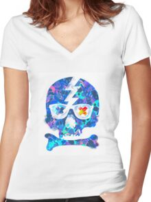 Psychedelic Skull by Pepe Psyche Women's Fitted V-Neck T-Shirt