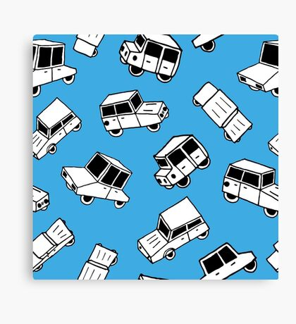 Hand drawn cute cars Canvas Print