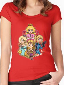 Peach, Samus, Rosalina & Zelda Women's Fitted Scoop T-Shirt