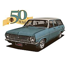 HR Holden Station Wagon - 50th Anniversary - Blue & White Photographic Print