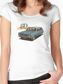HR Holden Station Wagon - 50th Anniversary - Blue & White Women's Fitted Scoop T-Shirt