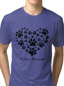 I Love Animals Tri-blend T-Shirt