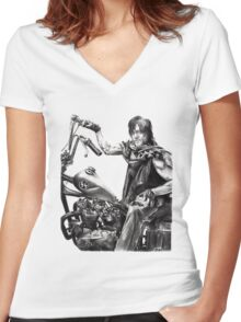 Daryl on his motorcycle Women's Fitted V-Neck T-Shirt