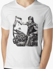 Daryl on his motorcycle Mens V-Neck T-Shirt