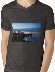 Safety Beach Pier at Dusk Mens V-Neck T-Shirt
