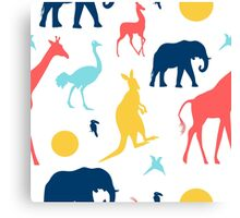 Colored african animals Canvas Print