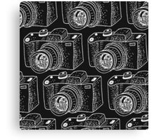 Hand drawn white cameras Canvas Print
