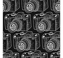 Hand drawn white cameras Photographic Print