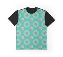 Pink flowers and other shapes pattern Graphic T-Shirt