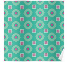 Pink flowers and other shapes pattern Poster