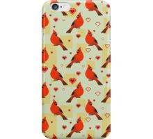 8-bit Cardinals and Hearts Pattern iPhone Case/Skin