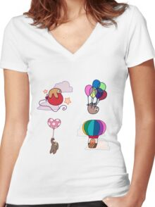 Four Balloon Sloths Women's Fitted V-Neck T-Shirt