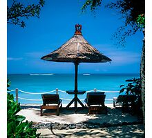 Beach umbrella and recliners, Bali, Indonesia. Photographic Print