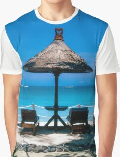 Beach umbrella and recliners, Bali, Indonesia. Graphic T-Shirt