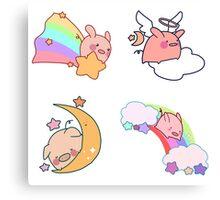 Four Rainbow Moon Pigs Canvas Print