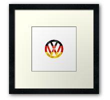 VW Volkswagen logo with 3D German flag Framed Print