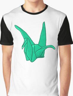 Green Origami Crane Graphic T-Shirt